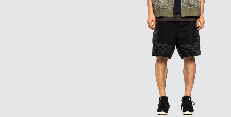 Fabric Combo Shorts Black
