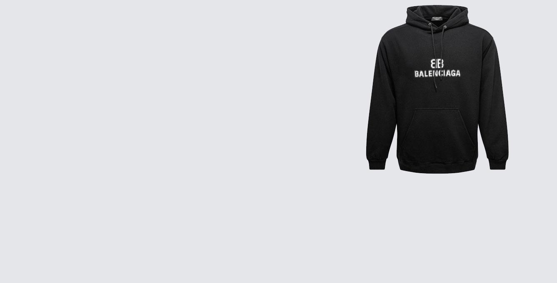 Balenciaga Black BB Pixel Medium Fit Hoo...